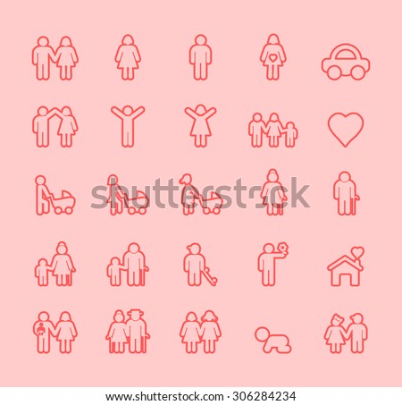 Set of Isolated Modern Minimalistic Simple Family Thin Line Icons on Color Background.  - stock vector