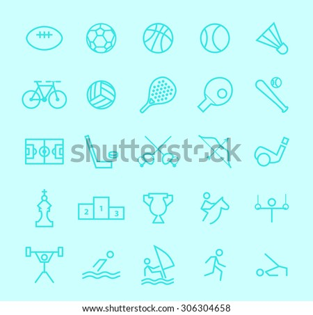 Set of Isolated Modern Minimalistic Simple Sport Thin Line Icons on Color Background.  - stock vector