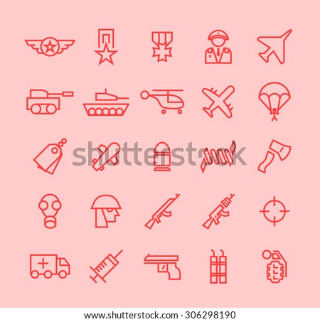 Set of Isolated Modern Minimalistic Simple War Thin Line Icons on Color Background.  - stock vector