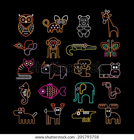 Set of isolated neon animal icons. Isolated on black background. Animals, birds and fishes. - stock vector