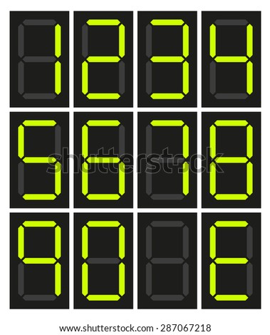 Set of 10 isolated neon digital numbers, no number and E for Error - stock vector