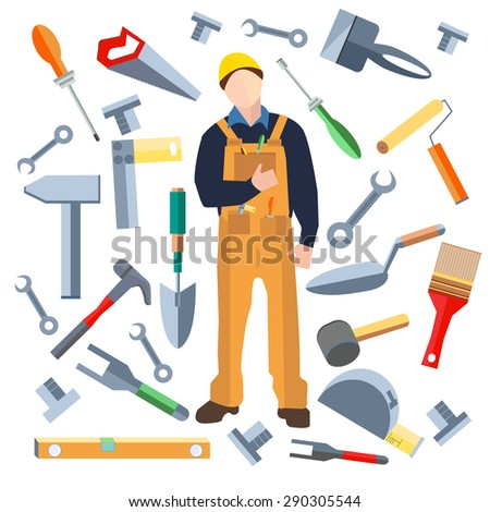 Set of isolated objects, builder into a flat style. Icons construction materials hammer, putty knife, screwdriver, saw, shovel. Logo design elements. Modern concept. Vector illustration