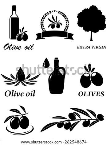 set of isolated olive oil icons on white background  - stock vector