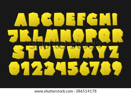 set of isolated on black background cartoon style, golden alphabet letters and numbers. vector, commercial font type design. comic book lettering typeface - stock vector