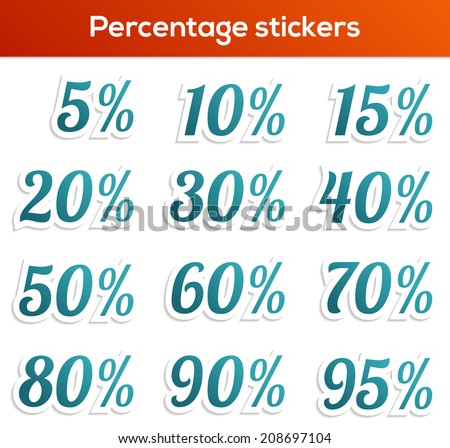 Set of 12 isolated percentage stickers in blue color - stock vector
