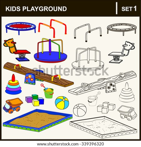 Set of isolated playground equipment. Vector illustration. - stock vector
