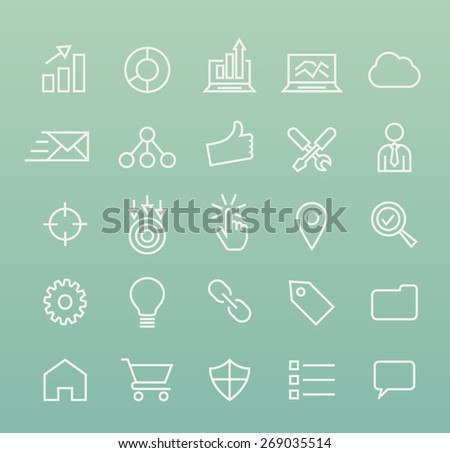Set of Isolated Quality Universal Standard Minimal Simple White SEO and Development Thin Line Icons on Color Background. - stock vector