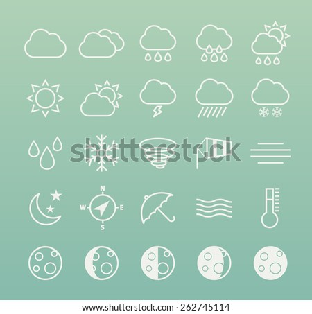 Set of Isolated Quality Universal Standard Minimal Simple White Weather Thin Line Icons on Color Background. - stock vector