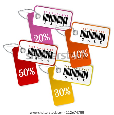 Set of isolated sale tags. Vector template - stock vector