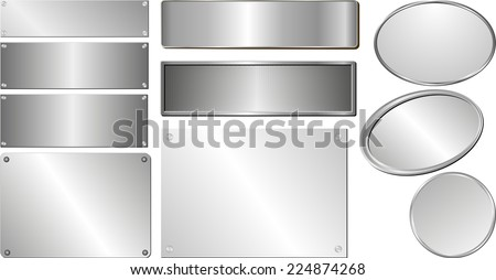 set of isolated silver and metallic plaques - stock vector