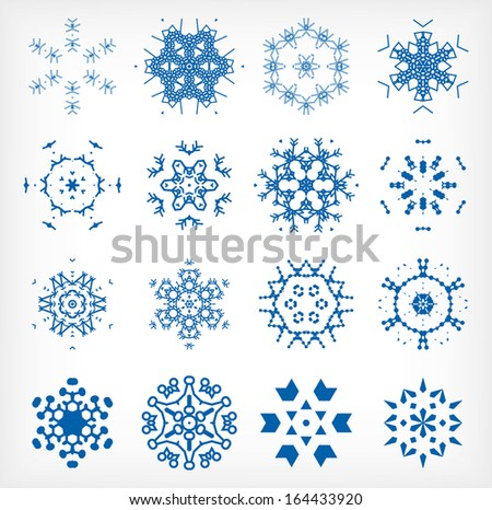 Set of isolated snowflakes for Christmas decor - stock vector
