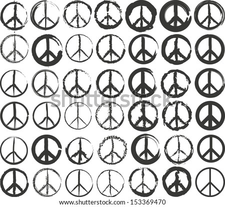 set of isolated stylized peace symbol - stock vector