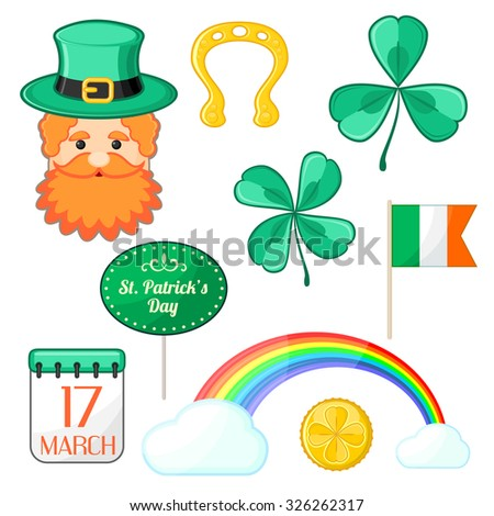Set of isolated symbols for Saint Patrick's Day