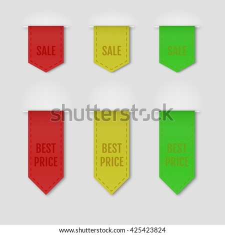 Set of isolated textured ribbons on grey background. Vector illustration. - stock vector