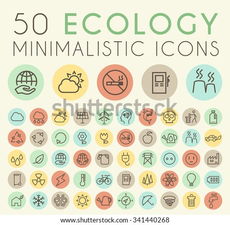 Set of 50 Isolated Universal Minimal Simple Vintage Thin Line Ecology Icons on Circular Color Buttons. - stock vector