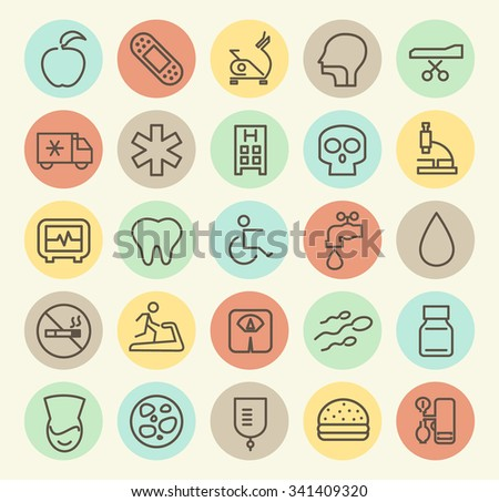 Set of Isolated Universal Minimal Simple Vintage Thin Line Medical Icons on Circular Color Buttons. - stock vector