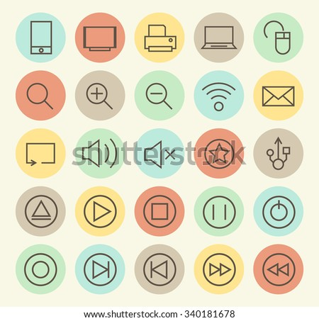 Set of Isolated Universal Minimal Simple Vintage Thin Line Multimedia Icons on Circular Color Buttons. - stock vector