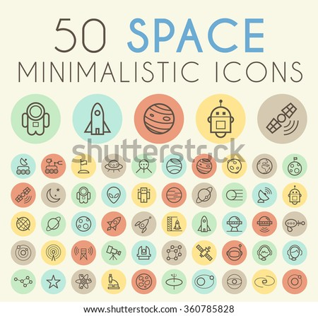 Set of 50 Isolated Universal Minimal Simple Vintage Thin Line Space Icons on Circular Color Buttons. - stock vector