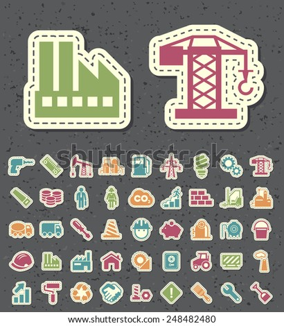 Set of 45 Isolated Universal Standard New Color Construction Icons Paper Cut Style on Black Background. - stock vector