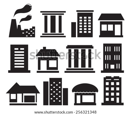set of isolated urban building icons on white background - stock vector