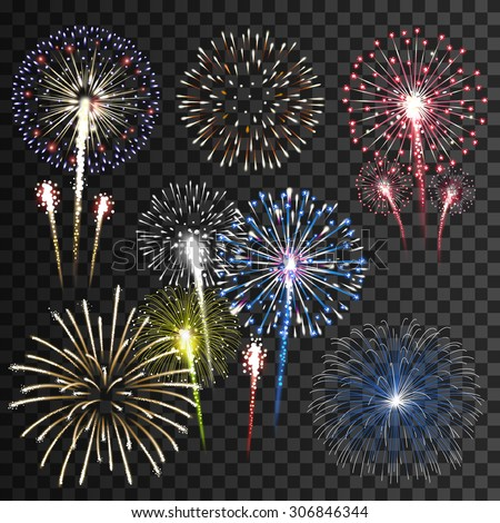Set of isolated vector fireworks  - stock vector