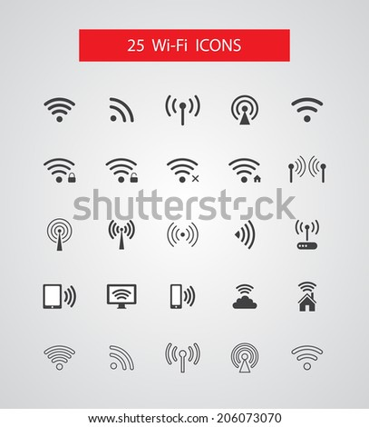 Set of isolated vector wireless icons - stock vector