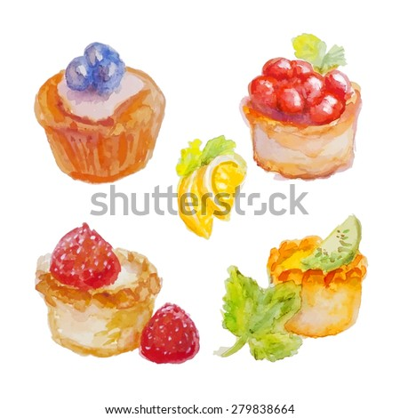 Set of isolated watercolor cakes