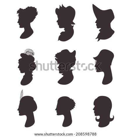 Set of isolated woman profile portrait silhouettes. Victorian, A - stock vector