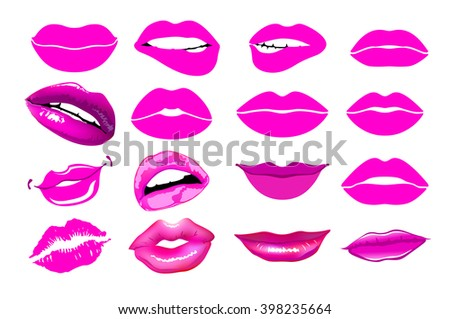 Set of isolated women lips. Vector illustration. Lips set. design element. Woman's lip gestures set. Girl mouths close up with red lipstick makeup expressing different emotions. EPS10 vector. art - stock vector