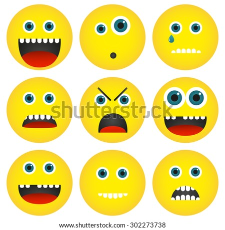 Set of 4 isolated yellow emoticons with different expressions - stock vector