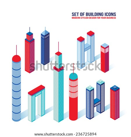 Set of isometric building icons 3D Architecture - stock vector
