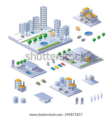 Set of Isometric Buildings, home and transport.