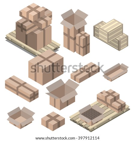 Set of  isometric cardboard boxes isolated on white. Vector boxes and shelving, Wood boxes - stock vector