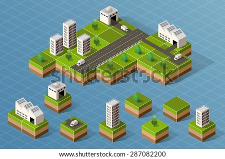 Set of isometric city center on the map with a large number of buildings. - stock vector