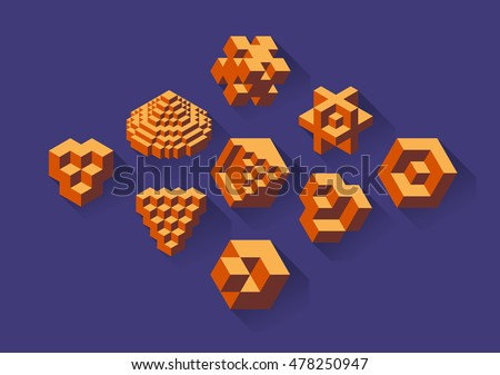 Set of isometric cubical objects, useful for corporate or science purpose. - Stock vector