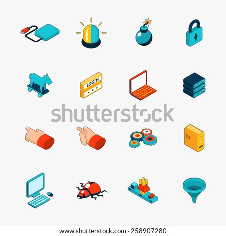 Set of isometric 3D internet security web icons. Login and password, trojan and virus and warning. Vector illustration - stock vector