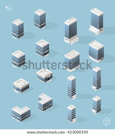 Set of Isometric High Quality City Element for Map. Left and Right Version. Skyscrapers. - stock vector