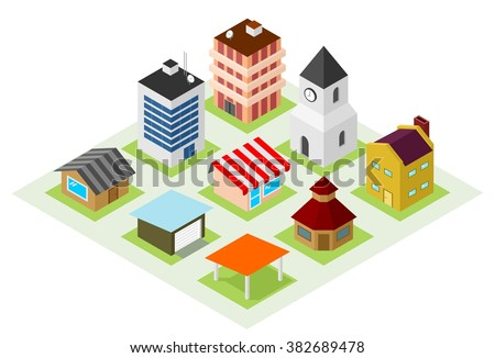Set of isometric house icons for map building