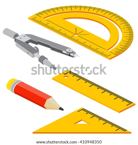 Set of Isometric measuring tools: rulers, triangles, protractor, pencil and pair of compasses . Vector school instruments isolated on white background.  - stock vector