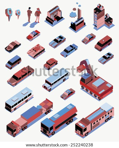 set of isometric object. vehicle, car, people, pin vector - stock vector