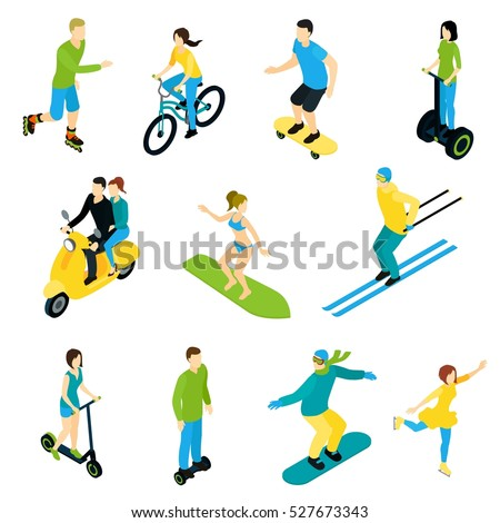 Set of isometric people characters ride on surf boards bicycles ski motorbike and by foot flat vector illustration