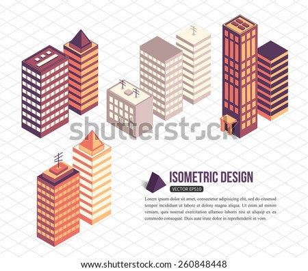 Set of isometric tall buildings for city building. Vector illustration. - stock vector