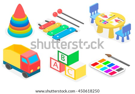 Set of isometric toys. Flat 3D illustration.