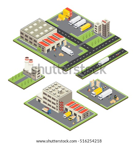Set of isometric warehouse territories with factory and storage buildings transportation and road infrastructure isolated vector illustration