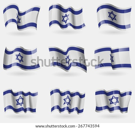 Set of Israel flags in the air. Vector illustration - stock vector