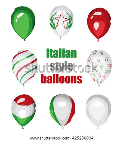 Set of Italian styled vector balloons. Flag of Italy on balloon. Celebration elements. Italian National Republic Day. Festa della Repubblica Italiana. Balloons on the feast of the national event.