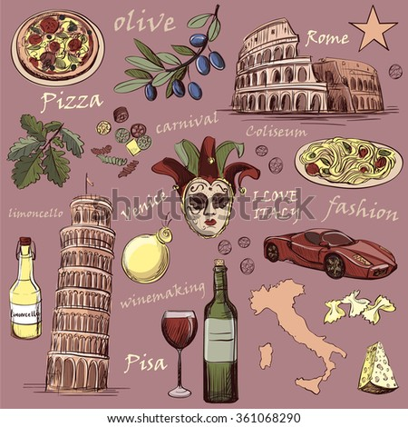 Set of Italy icons hand drawn with national italian food, sights, map and flag. Colosseum, Pompeii, Vatican, Leaning Tower of Pisa, Venice, pizza, wine, carnival mask