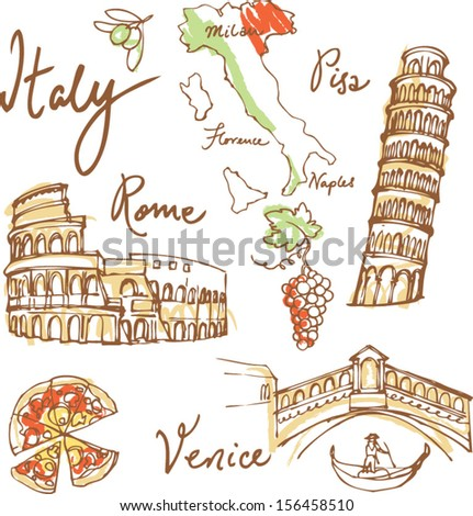 Set of Italy icons vector illustration
