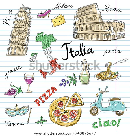 Set Of Italy Symbols On Notebook Sheet Hand Drawn With Coliseum Leaning Tower
