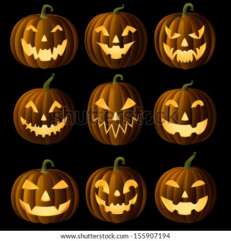 Set of Jack O Lanterns, faces cut on pumpkin, detailed illustration, EPS 10, contains transparency.